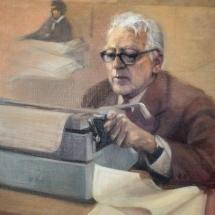 Óleo de Héctor Osuna realizado después de la muerte de don Guillermo Cano. 1987.