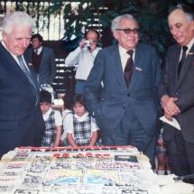 Celebración de los 90 años de El Espectador. En esta foto están Luis Gabriel Cano, Guillermo Cano y Alfonso Cano.